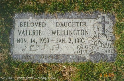 Valerie Wellington Headstone - Jody Page - March 2000